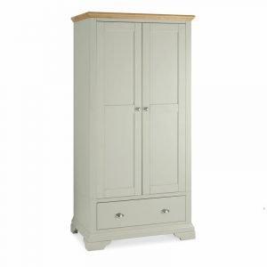 Hampstead Soft Grey And Oak Double Wardrobe
