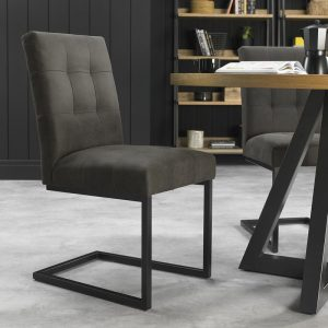 Indus Cantilever Chair Upholstered In Grey Fabric (Pair)
