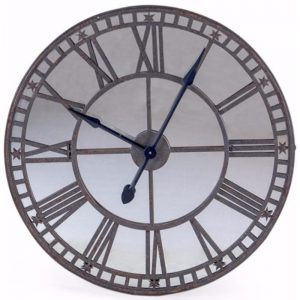 Large industrial style antiqued wall clock with mirror face