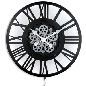 Large Black Skeleton Back Lit Moving Gears Wall Clock