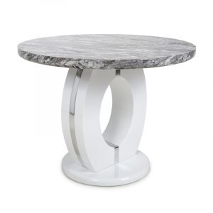 Neptune Round Marble Effect Top High Gloss Grey/White Dining Table
