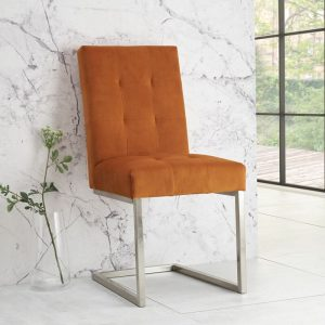 Tivoli Upholstered Cantilever Chair Harvest Pumpkin (Pair)