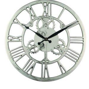 Nickel Cog Design Skeleton Wall Clock