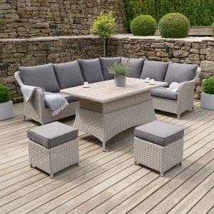 Antigua Corner Dining Set Stone Grey with Adjustable Table