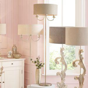 Antique Brass Metal Candelabra Floor Lamp