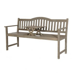 Antique Grey Acacia Wood Bench with Pop Up Table