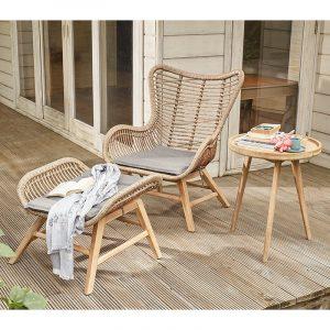 Aurora Chair and Hocker Set Natural
