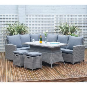 Barbados Dining Corner Set Slate Grey with Adjustable Table