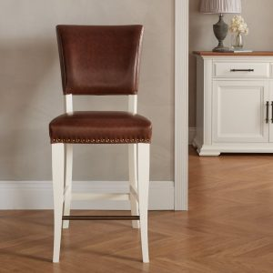 Belgrave Ivory Bar Stool - Rustic Tan Faux Leather