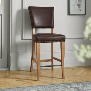 Belgrave Rustic Oak Bar Stool Rustic Espresso Faux Leather