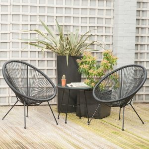 Black PU Rio 3 Piece Bistro Set