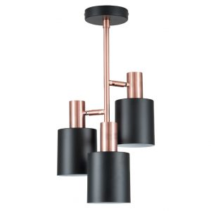 Black and Antique Copper 3 Light Electrified Pendant