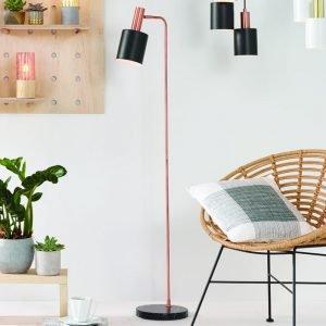 Black and Antique Copper Retro Floor Lamp