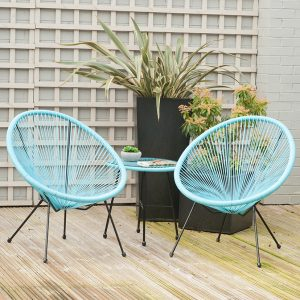 Blue PU Rio 3 Piece Bistro Set