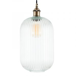 Clear Ribbed Glass Tall Pendant