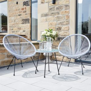 Grey PU Rio 3 Piece Bistro Set
