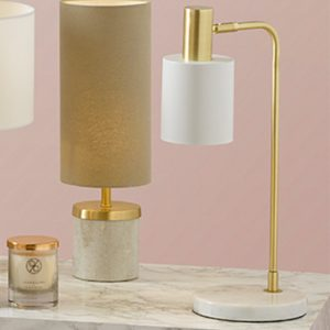 Marble Footed White and Gold Retro Table Lamp