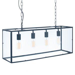 Matt Black Metal and Glass Four Bulb Pendant