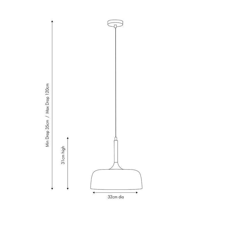 Matt Cream Domed Metal Pendant dimensions