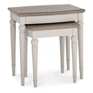 Montreux Grey Washed Oak and Soft Grey Nest Of Lamp Tables