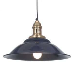 Navy and Antique Brass Metal Cafe Pendant