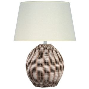Rattan Cream Wash Table Lamp Complete