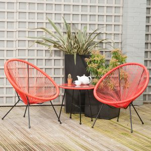 Red PU Rio 3 Piece Bistro Set