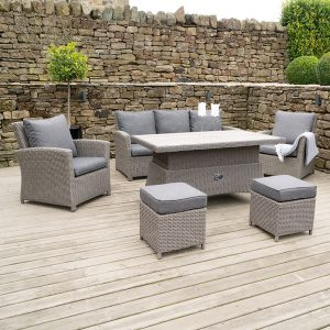 Slate Grey Barbados 6 Piece Relaxed Garden Dining Set