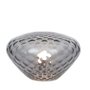Textured Grey Coloured Glass Table Lamp