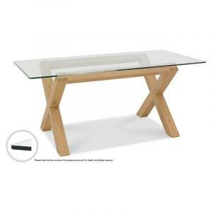 Turin Light Oak Glass Top Dining Table