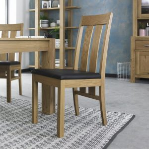 Turin Light Oak Slatted Chair – Brown Bonded Leather (Pair)