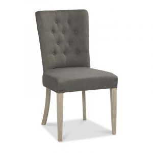 Bordeaux Chalk Oak Upholstered Chair – Titanium Fabric (Pair)