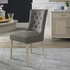 Bordeaux Chalk Oak Upholstered Scoop Chair – Titanium Fabric (Pair)