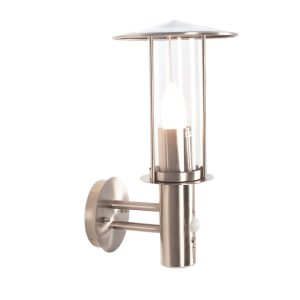 Brushed Steel Metal Chimney Wall Light with PIR