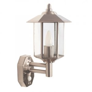 Brushed Steel Pagoda Wall Light with PIR