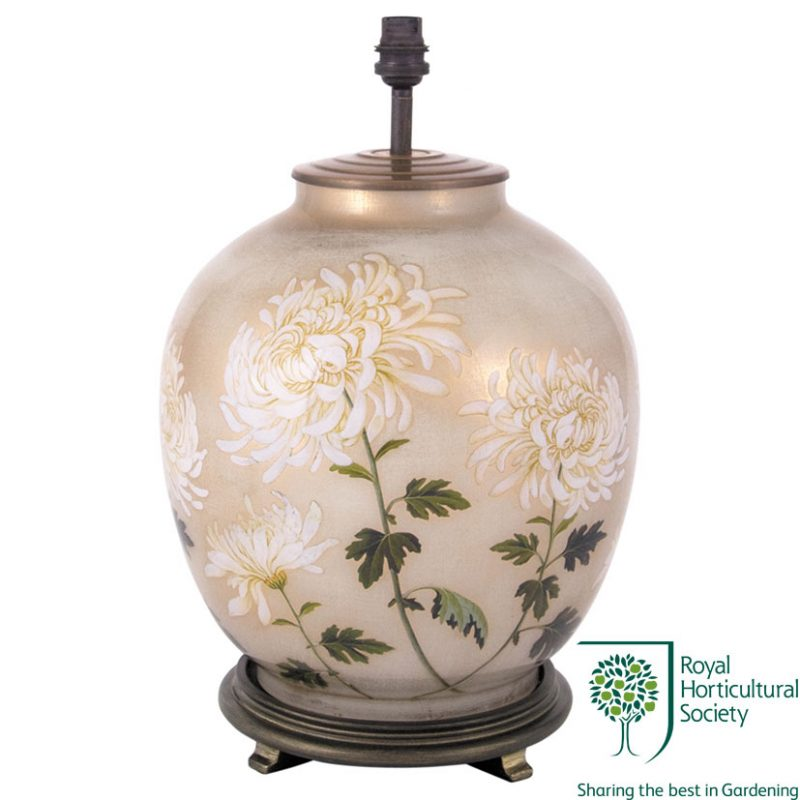 Jenny Worrall RHS Chrysanthemum Large Glass Table Lamp