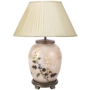 Jenny Worrall RHS Chrysanthemum Medium Oval Glass Table Lamp (base)