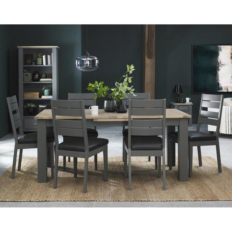 Oakham Dark Grey And Scandi Oak 6 8 Dining Table Avenue Interiors