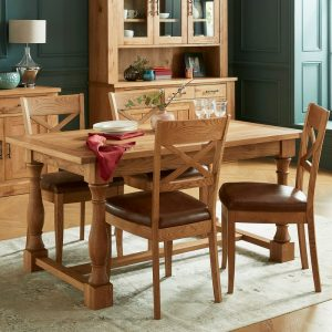 Westbury Rustic Oak Dining Set – Table and 4 Chairs