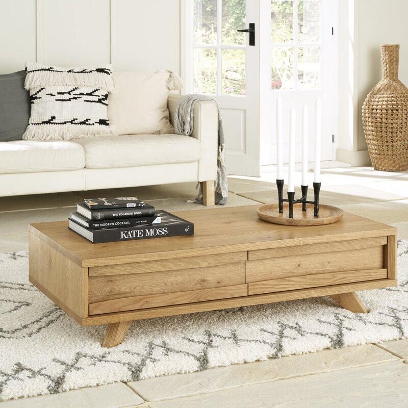 Cadell Rustic Oak Coffee Table With Drawers