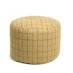 Tweed Pouf With Light Brown Pattern