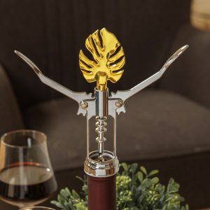 Stainless Steel Winged Corkscrew With Leaf Handle