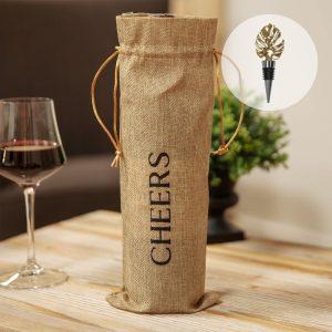 hessian-bottle-sack-with leaf-design-bottle-stopper-HE1518-Avenue Interiors