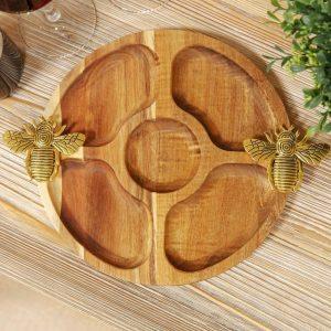 Acacia Wood Nibbles Board With Bee Handles