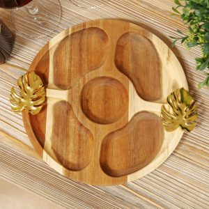 Acacia Wood Nibbles Board With Leaf Handles