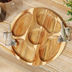 Acacia Wood Nibbles Board With Grape And Wine Handles