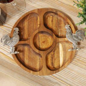 Acacia Wood Nibbles Board With Cockerel Handles