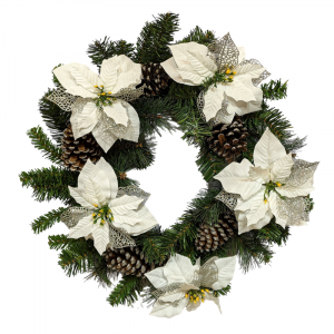 Silver 60cm Christmas Wreath with cones