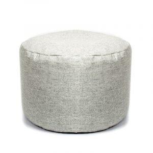 Silver Grey Herringbone Tweed Pouf
