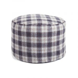 Navy Check Tweed Pouf